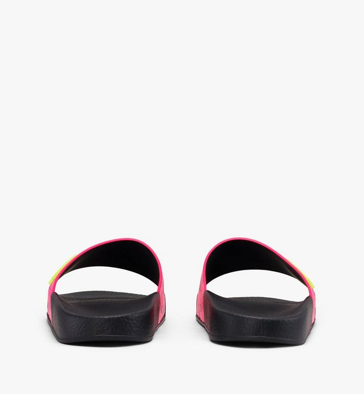MCM Women's Flo Monogram Rubber Slides Pink MES9ALC76QP037 Alternate View 3