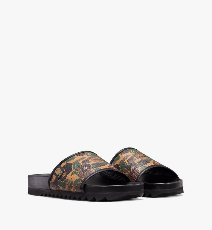 MCM Women's MCM x BAPE Slides in Camo Visetos Alternate View