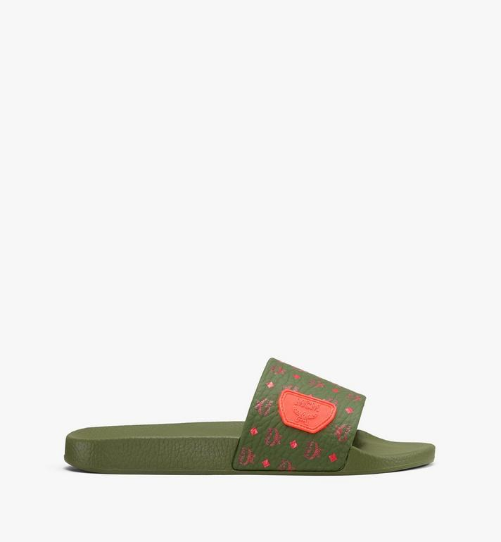 MCM Women's Monogram Rubber Slides Green MES9AMM75G8036 Alternate View 2