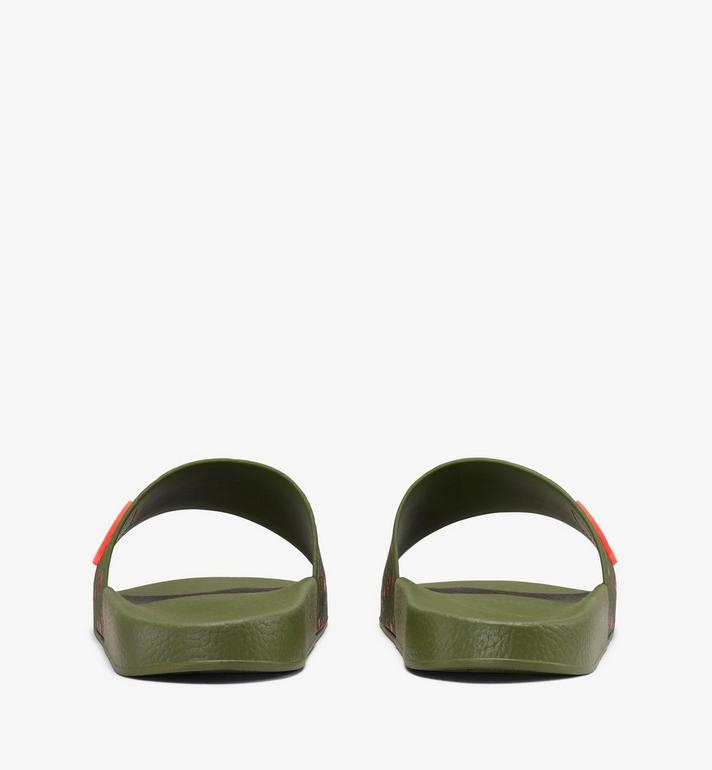 MCM Women's Monogram Rubber Slides Green MES9AMM75G8036 Alternate View 3