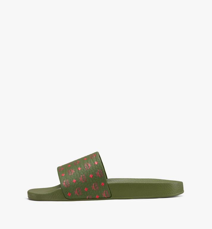MCM Women's Monogram Rubber Slides Green MES9AMM75G8036 Alternate View 4