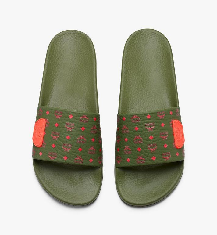 MCM Women's Monogram Rubber Slides Green MES9AMM75G8036 Alternate View 5