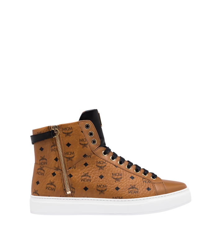 MCM Women's Classic High Top Sneakers in Visetos Cognac MES9SMM01CO036 Alternate View 2