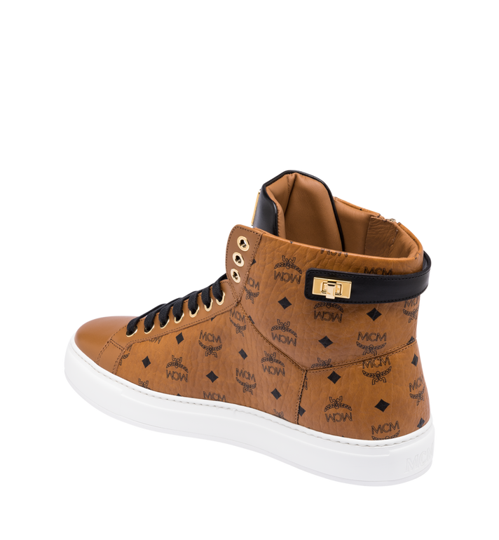 MCM Women's Classic High Top Sneakers in Visetos Cognac MES9SMM01CO037 Alternate View 3