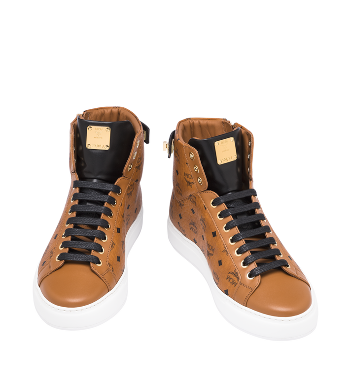 MCM Women's Classic High Top Sneakers in Visetos Cognac MES9SMM01CO037 Alternate View 4