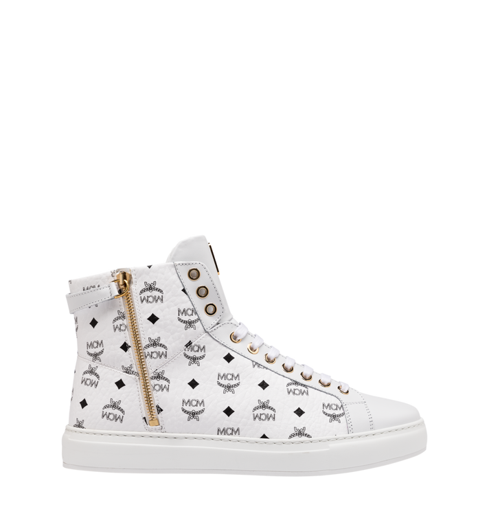 MCM Women's Classic High Top Sneakers in Visetos White MES9SMM01WT037 Alternate View 2