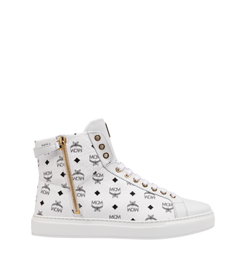 MCM Women's Classic High Top Sneakers in Visetos White MES9SMM01WT038 Alternate View 2
