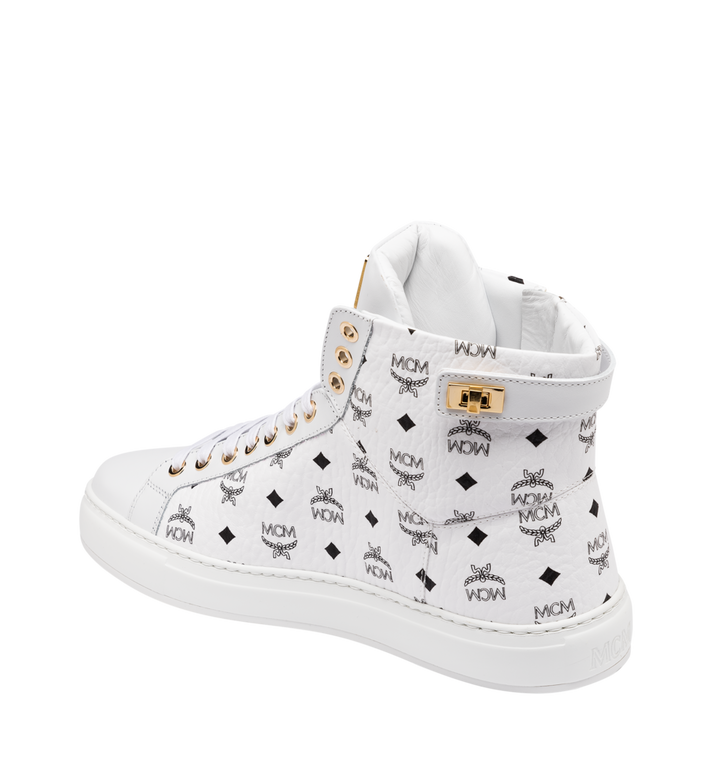MCM Women's Classic High Top Sneakers in Visetos White MES9SMM01WT038 Alternate View 3
