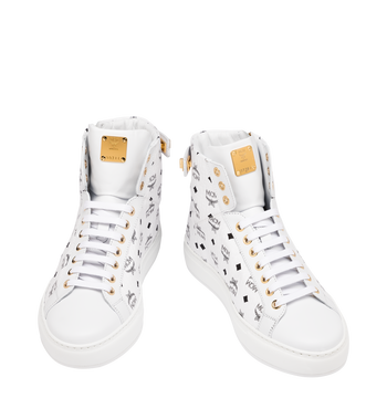 MCM Women's Classic High Top Sneakers in Visetos White MES9SMM01WT038 Alternate View 4