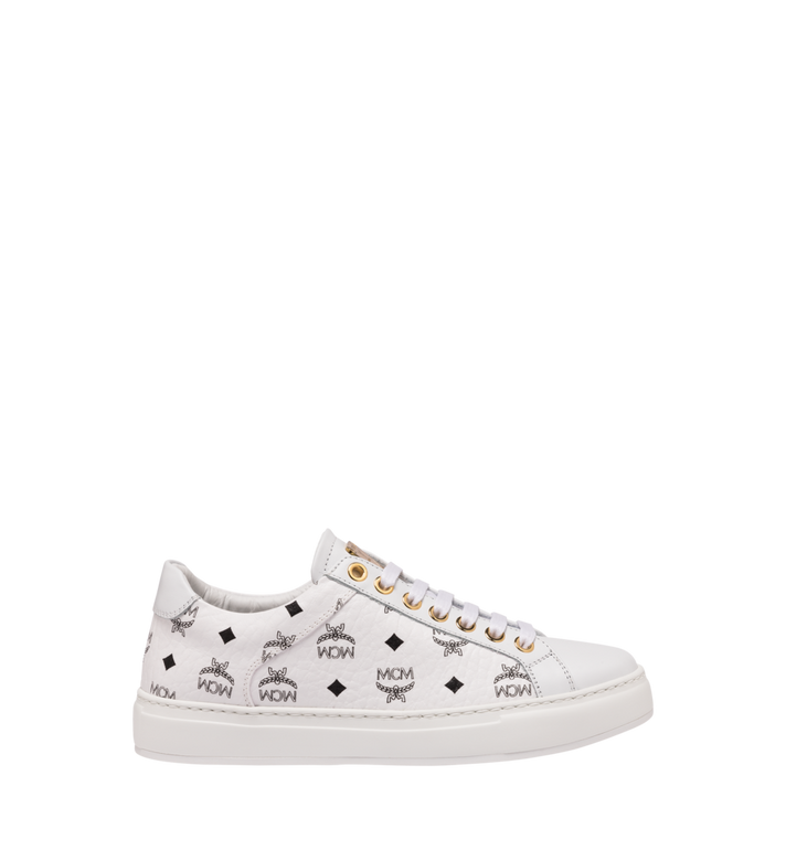 MCM Women's Classic Low Top Sneakers in Visetos White MES9SMM03WT040 Alternate View 2