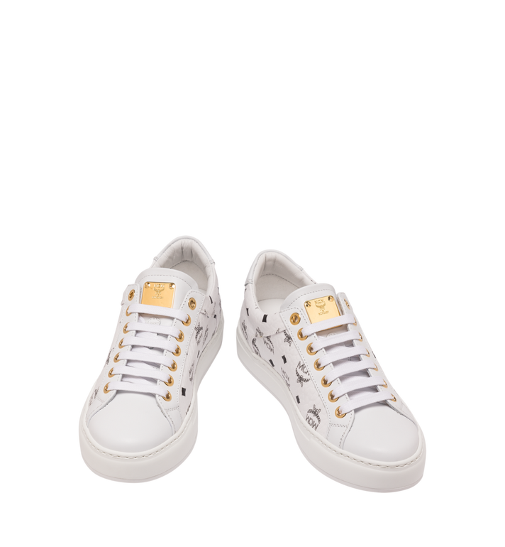 MCM Women's Classic Low Top Sneakers in Visetos White MES9SMM03WT040 Alternate View 4