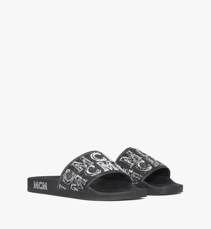 MCM Women's Sequin Logo Slides Alternate View