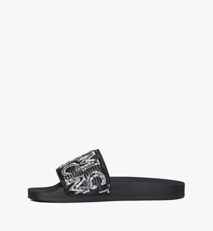 MCM Women's Sequin Logo Slides Black MESAAMM10BK036 Alternate View 2