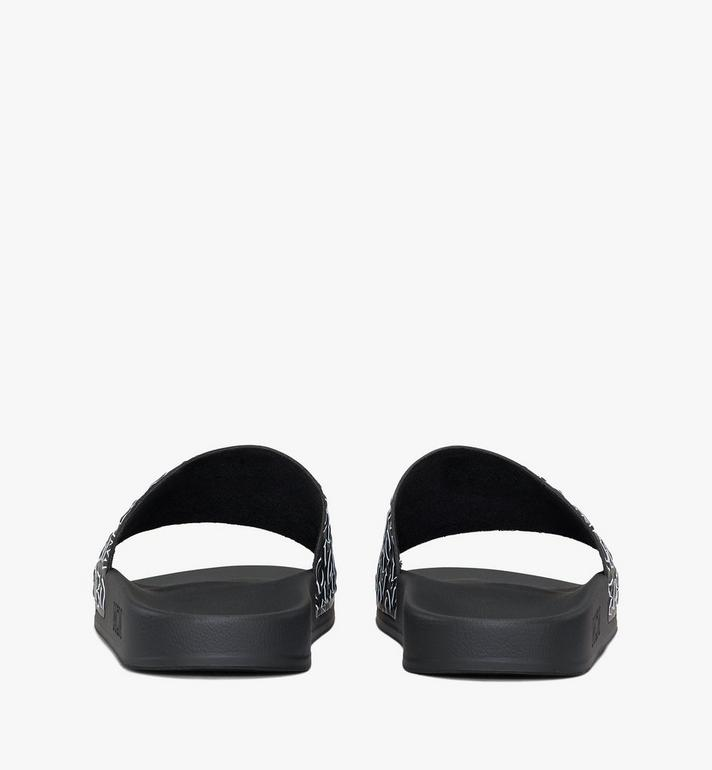 MCM Women's Diagonal Monogram Rubber Slides Black MESAAMM16BK036 Alternate View 3