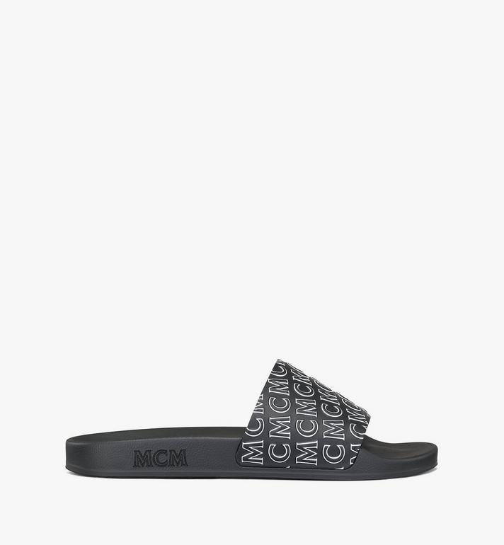 MCM Women's Diagonal Monogram Rubber Slides Black MESAAMM16BK038 Alternate View 4