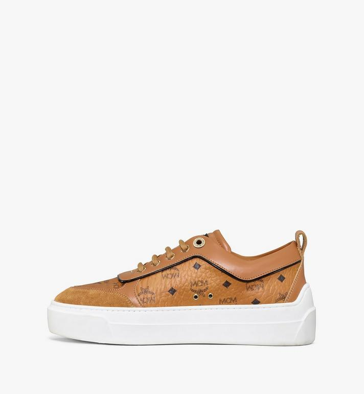 MCM Women's Skyward Platform Sneakers in Visetos Cognac MESAAMM19CO038 Alternate View 2