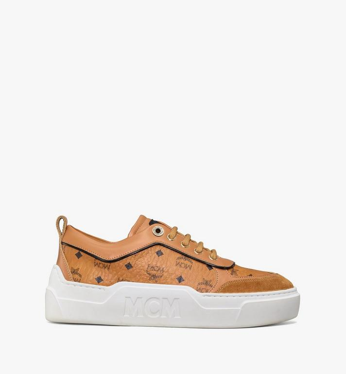 MCM Women's Skyward Platform Sneakers in Visetos Cognac MESAAMM19CO038 Alternate View 4
