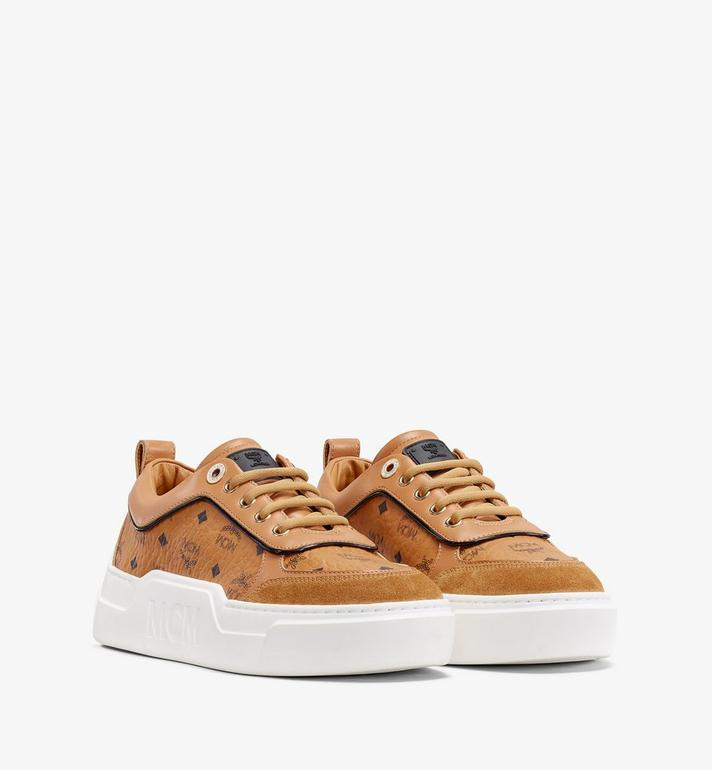 MCM Women's Skyward Platform Sneakers in Visetos Cognac MESAAMM19CO039 Alternate View 1