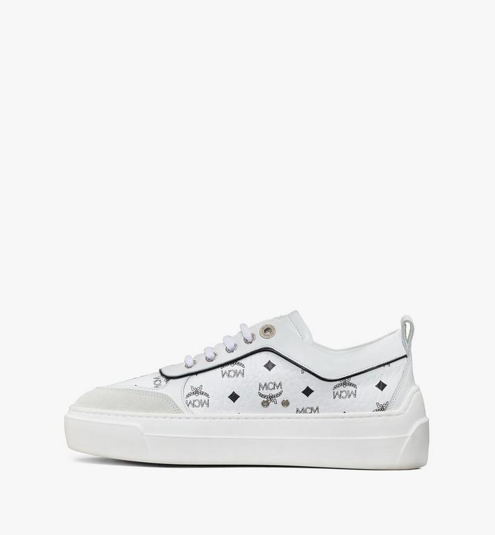 MCM Women's Skyward Platform Sneakers in Visetos White MESAAMM19WT036 Alternate View 2