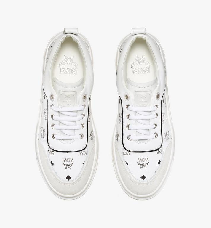 MCM Women's Skyward Platform Sneakers in Visetos White MESAAMM19WT038 Alternate View 5