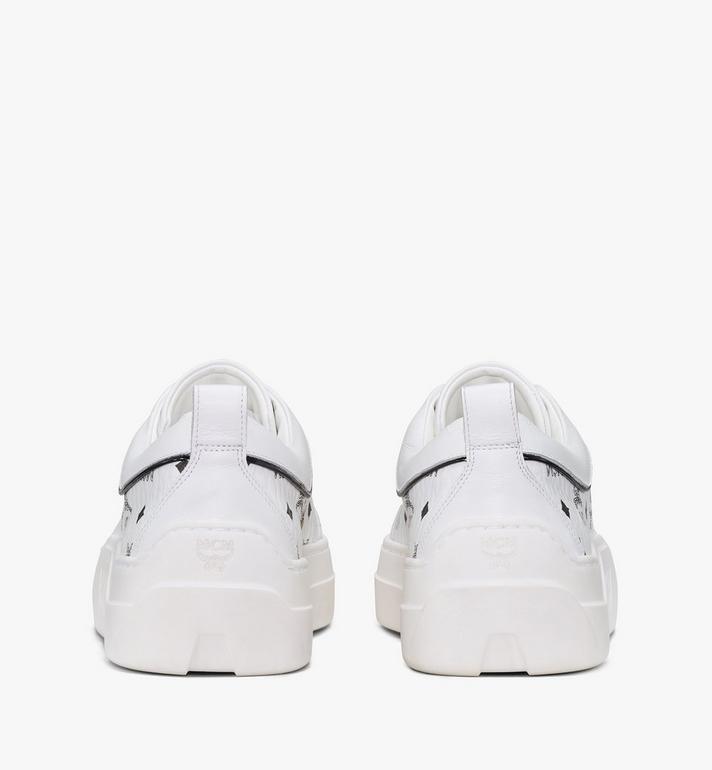 MCM Women's Skyward Platform Sneakers in Visetos White MESAAMM19WT040 Alternate View 3