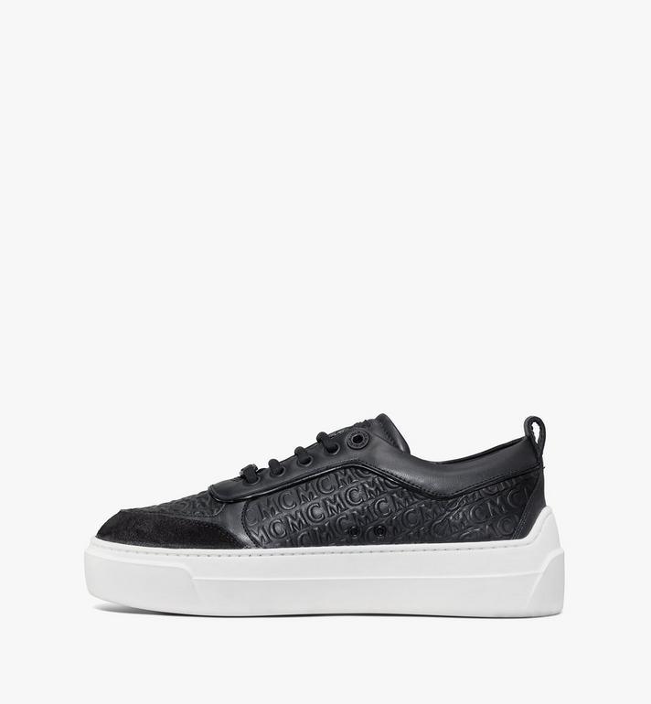 MCM Women's Skyward Platform Sneakers in Monogram Leather Black MESAAMM21BK037 Alternate View 2