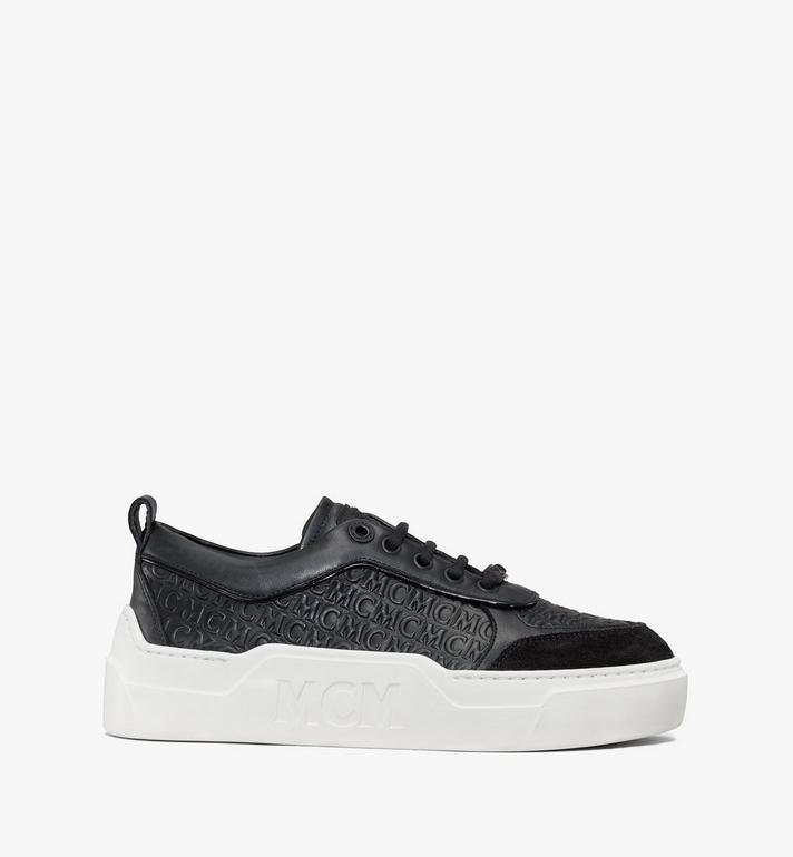 MCM Women's Skyward Platform Sneakers in Monogram Leather Black MESAAMM21BK037 Alternate View 4