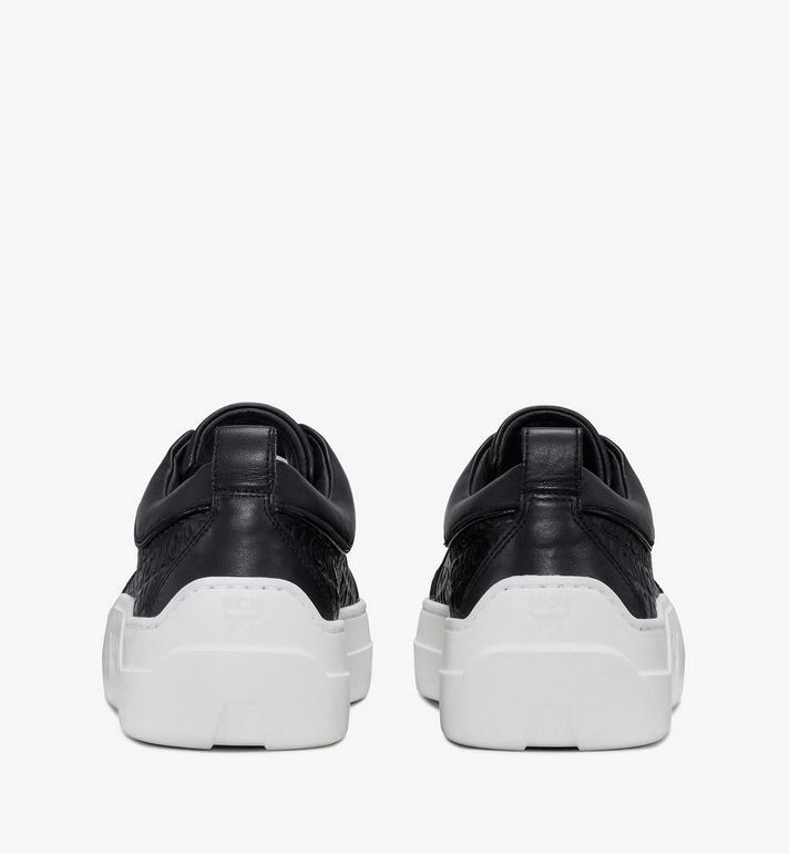 MCM Women's Skyward Platform Sneakers in Monogram Leather Black MESAAMM21BK038 Alternate View 3