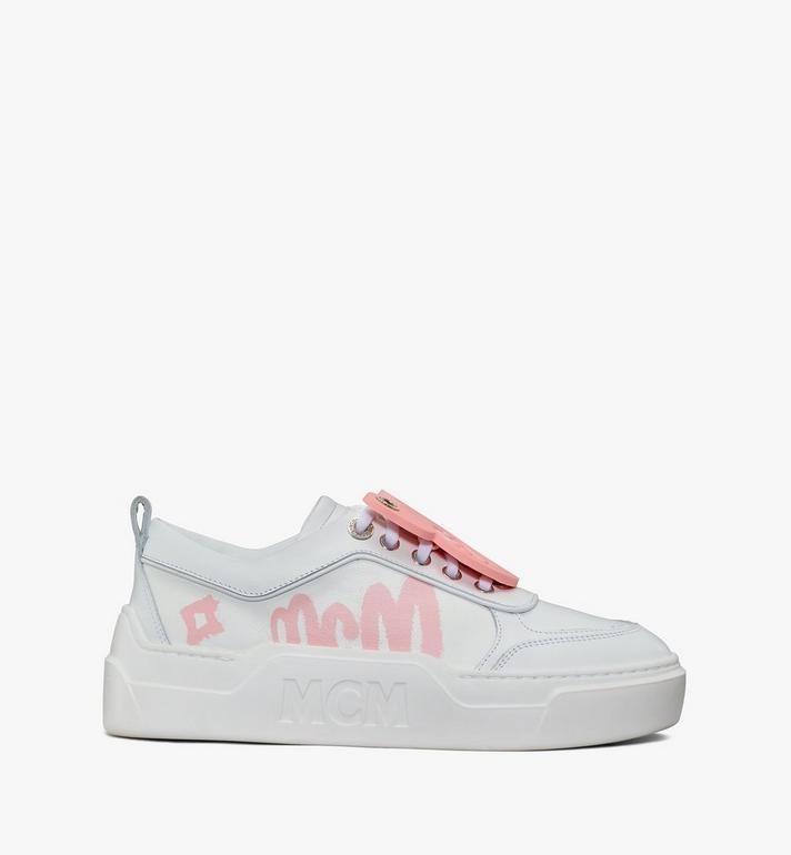 MCM Women's Skyward Platform Sneakers with Bear Charm White MESAAMM22WT038 Alternate View 4
