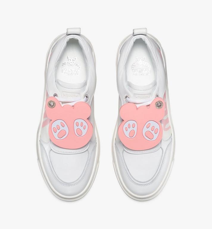 MCM Women's Skyward Platform Sneakers with Bear Charm White MESAAMM22WT038 Alternate View 5