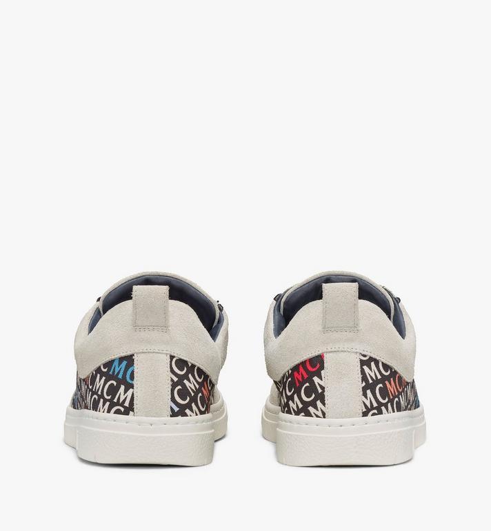 MCM 女士斜紋帆布花押字圖案低筒運動鞋 White MESAAMM25IK039 Alternate View 3