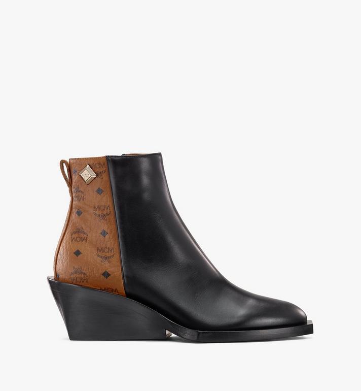 MCM Women's Ankle Boots in Visetos Black MESASMM35BK037 Alternate View 2