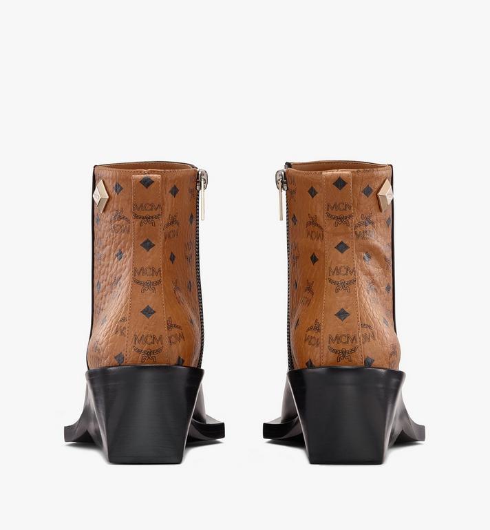 MCM Women's Ankle Boots in Visetos Black MESASMM35BK037 Alternate View 3