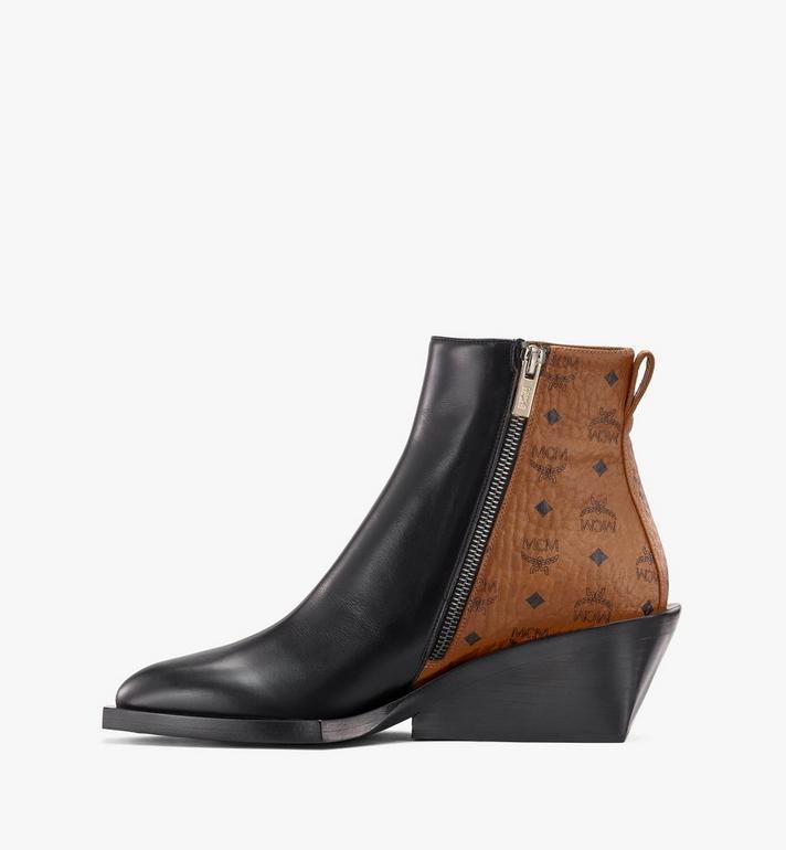 MCM Women's Ankle Boots in Visetos Black MESASMM35BK037 Alternate View 4