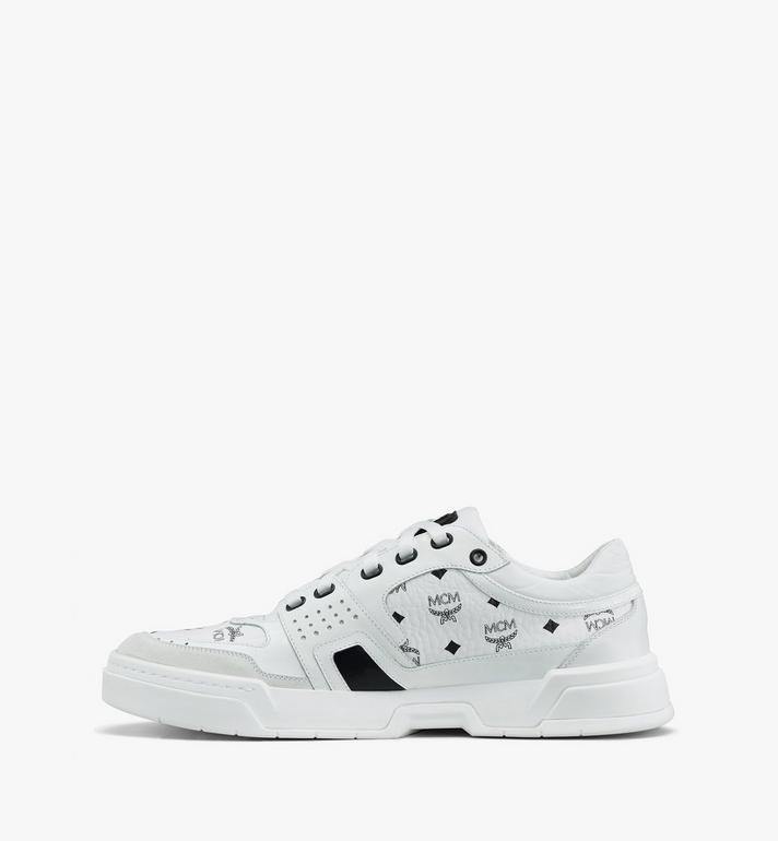 MCM Women's Skyward Low-Top Sneakers in Visetos White MESASMM44WT037 Alternate View 4