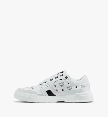 MCM Women's Skyward Low-Top Sneakers in Visetos White MESASMM44WT038 Alternate View 4
