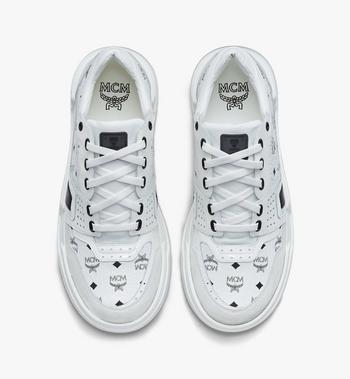MCM Women's Skyward Low-Top Sneakers in Visetos White MESASMM44WT038 Alternate View 5