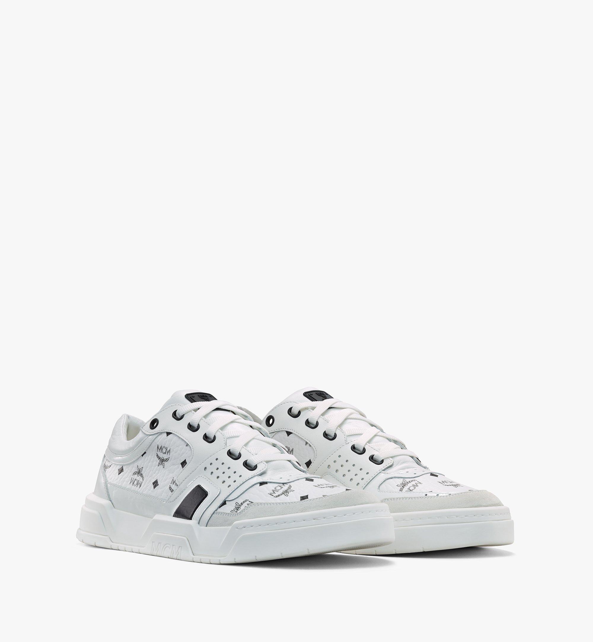 MCM Skyward Low-Top-Sneaker in Visetos für Damen White MESASMM44WT039 Alternate View 1