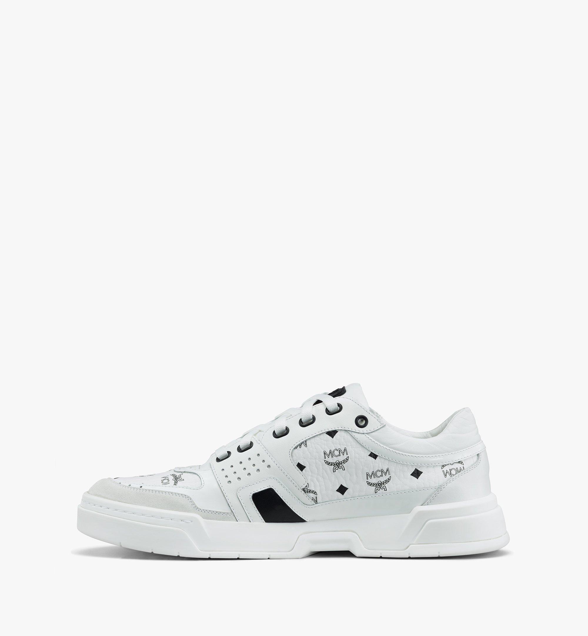 MCM Skyward Low-Top-Sneaker in Visetos für Damen White MESASMM44WT039 Alternate View 4