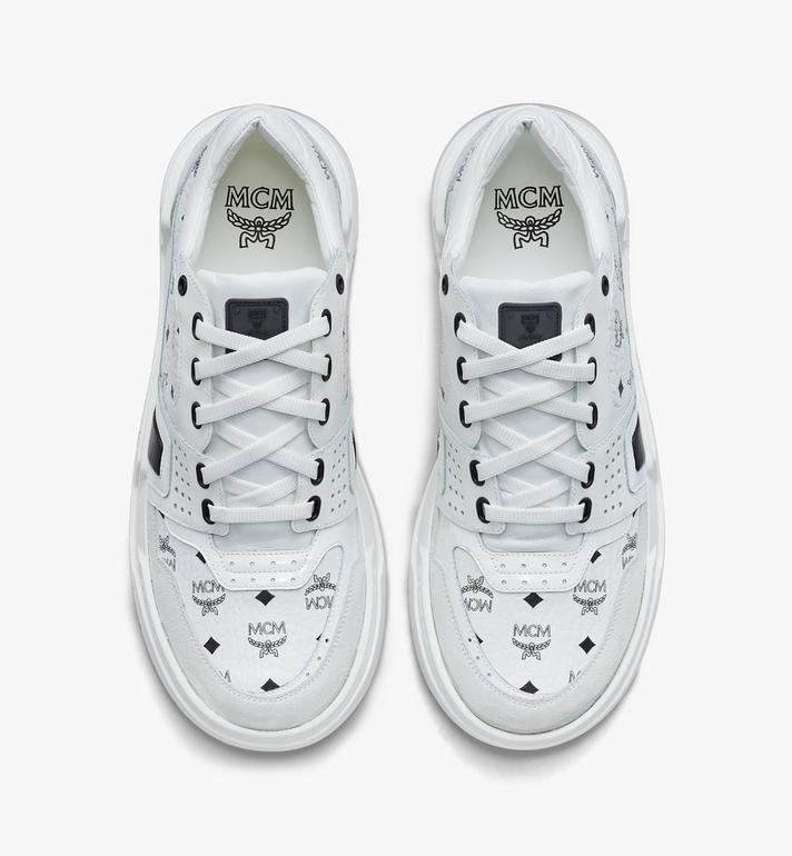 MCM Women's Skyward Low-Top Sneakers in Visetos White MESASMM44WT039 Alternate View 5