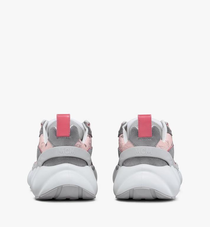 MCM Women's Himmel Low-Top Sneakers in Visetos Pink MESASNX05QH037 Alternate View 3