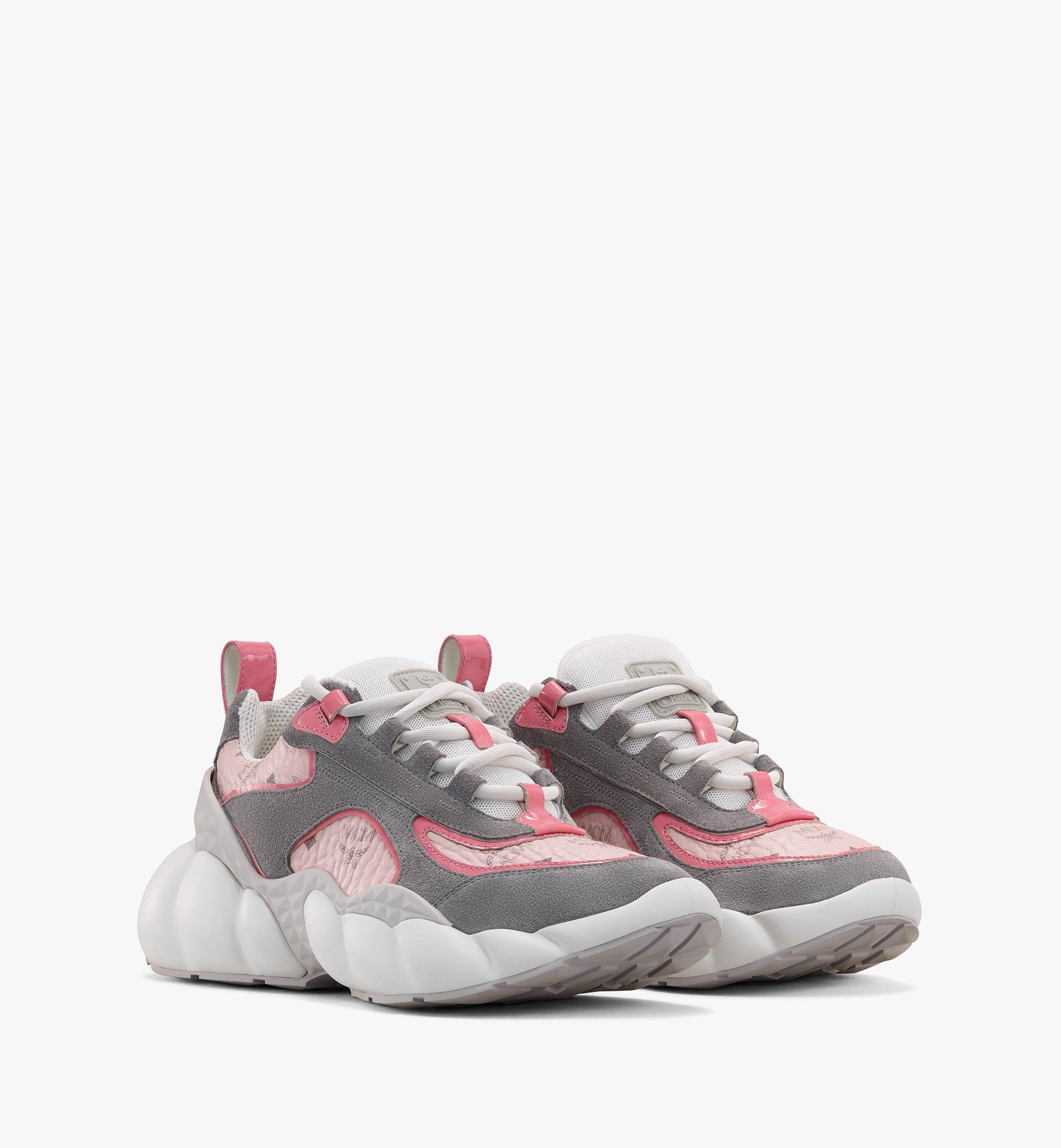 MCM Women's Himmel Low-Top Sneakers in Visetos Pink MESASNX05QH038 Alternate View 1