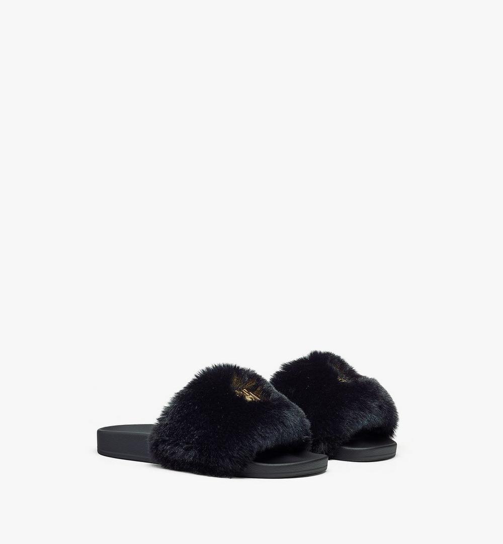 女士絨毛品牌標誌拖鞋 1
