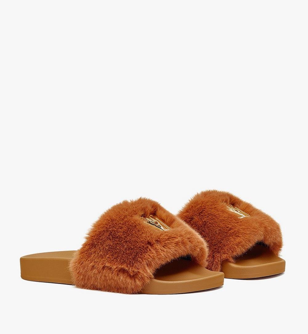 รองเท้าแตะขนสัตว์เทียมมีโลโก้สำหรับผู้หญิง 1