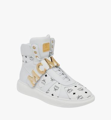 Men's High Top MCM Letter Sneakers in Visetos