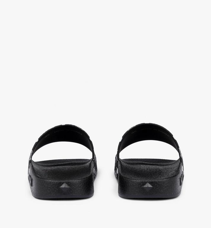 MCM Men's Monogram Print Rubber Slides Black MEX8AMM60BK041 Alternate View 3