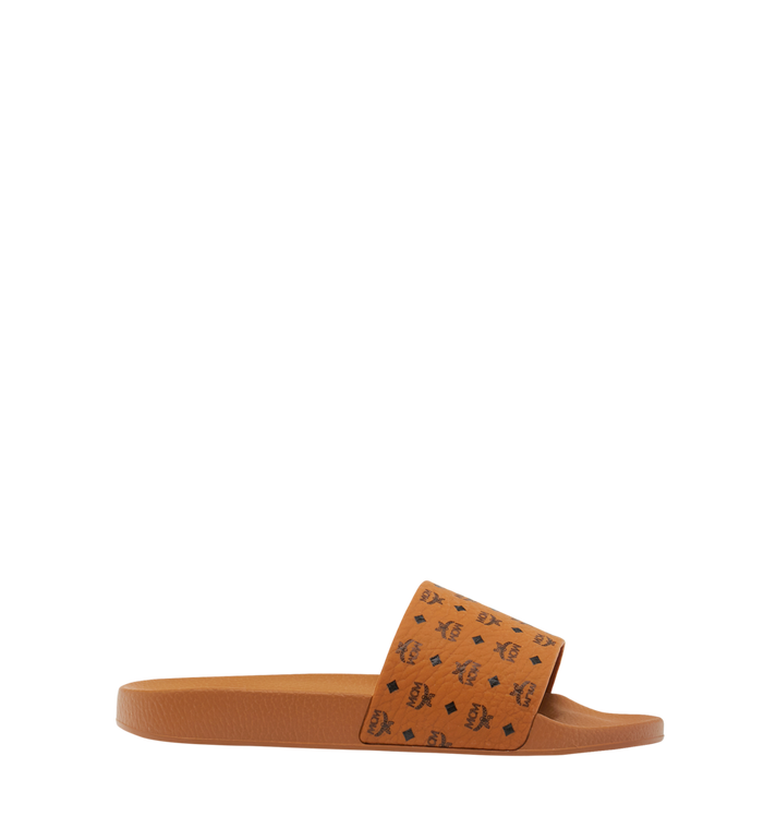 MCM Men's Monogram Print Rubber Slides Cognac MEX8AMM60CO041 Alternate View 2
