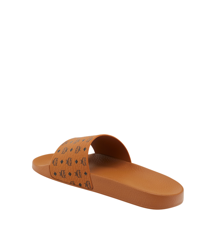 MCM Men's Monogram Print Rubber Slides Cognac MEX8AMM60CO041 Alternate View 3