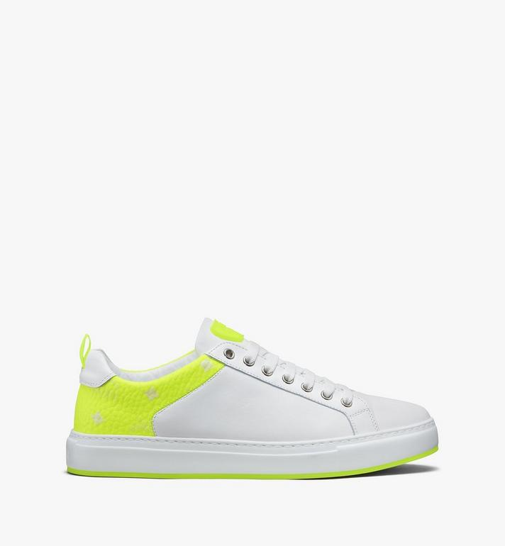 MCM Men's Flo Low-Top Sneakers in Neon Visetos White MEX9ALC67WT043 Alternate View 2