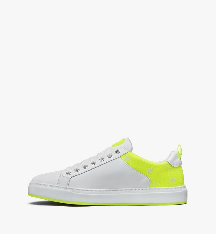MCM Men's Flo Low-Top Sneakers in Neon Visetos White MEX9ALC67WT043 Alternate View 4